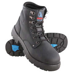 Steel Blue Argyle Lace-Up Safety Boot with Steel Toecap and TPU Outsole