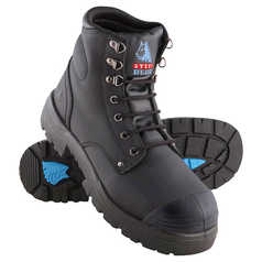 Steel Blue Argyle Lace-Up Safety Boot with Steel Toecap, Bumpcap and TPU Outsole