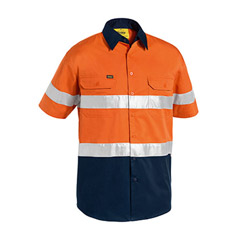 Bisley Hi-Vis Short Sleeve Lightweight Drill Work Shirt with Reflective Tape