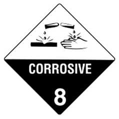 Uniform Safety Corrosive 8 Hazchem Sign